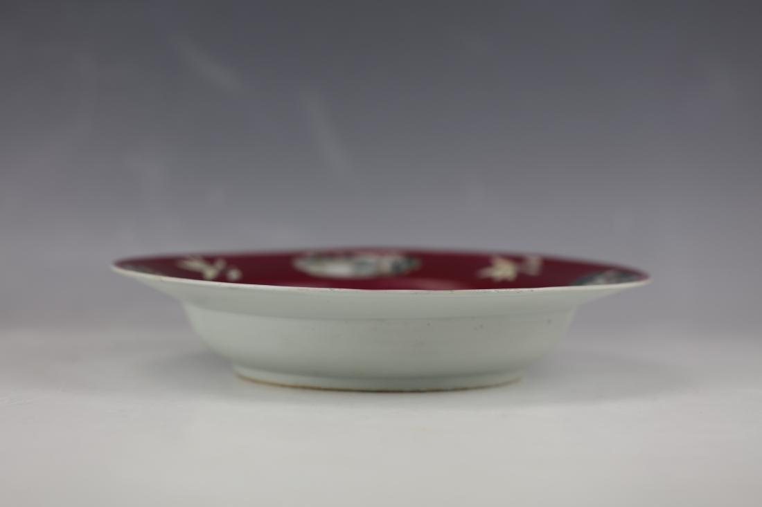 Carminum Glaze Famille Rose Export Porcelain Plate - 2