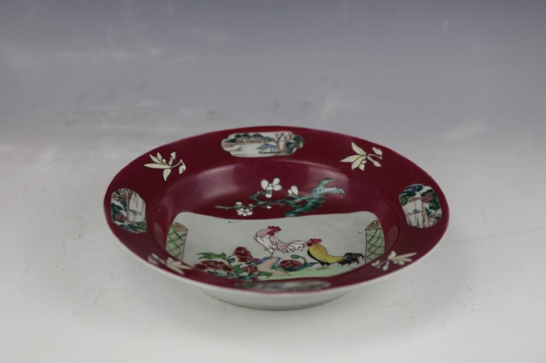 Carminum Glaze Famille Rose Export Porcelain Plate - 3