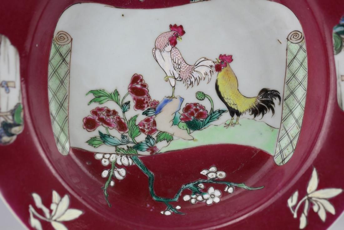 Carminum Glaze Famille Rose Export Porcelain Plate - 7