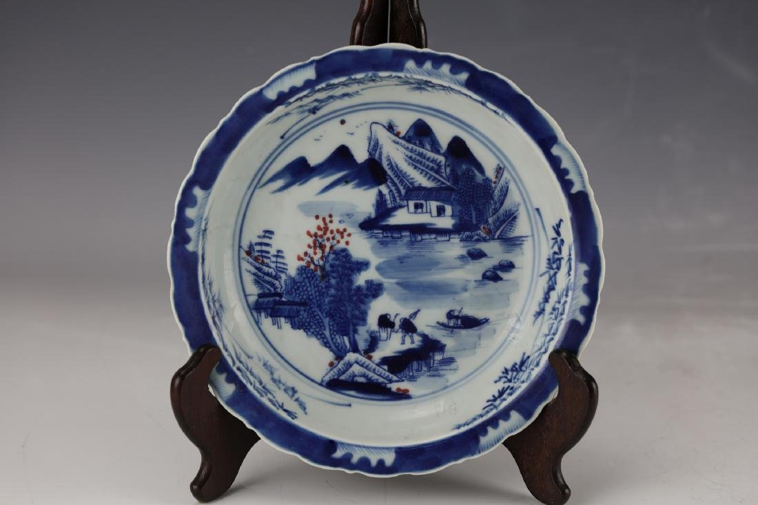A Figural and Landscape Blue Under Glaze Red Dish with