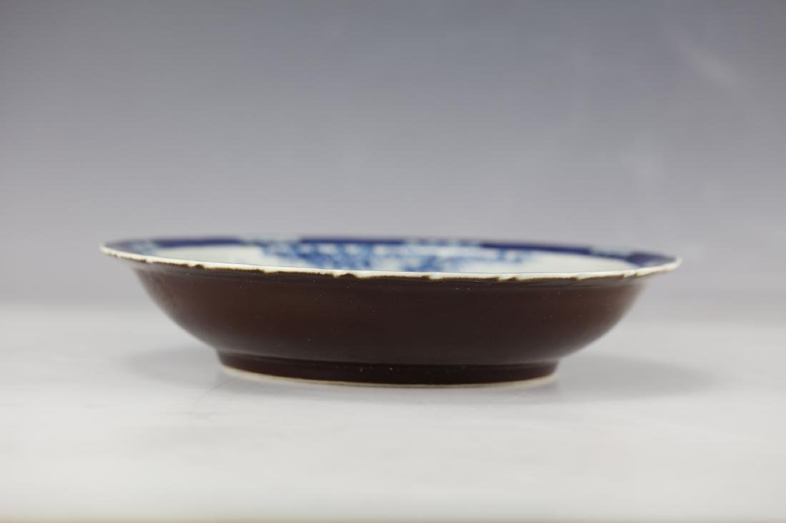 A Figural and Landscape Blue Under Glaze Red Dish with - 2