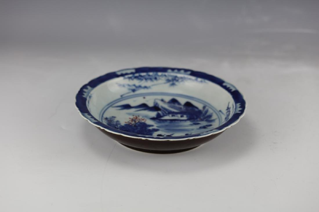 A Figural and Landscape Blue Under Glaze Red Dish with - 3