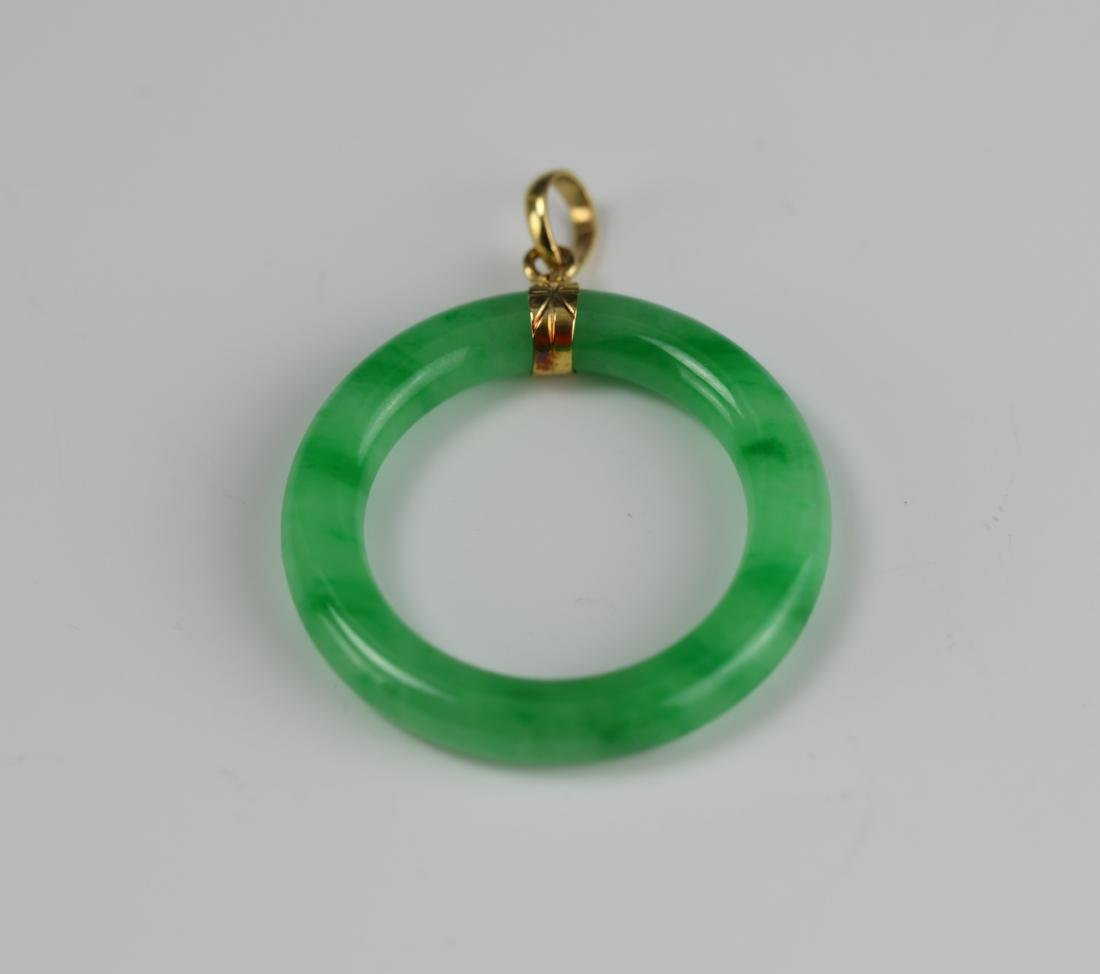 Green Jadeite Disc 14 K Gold Pendant - 2