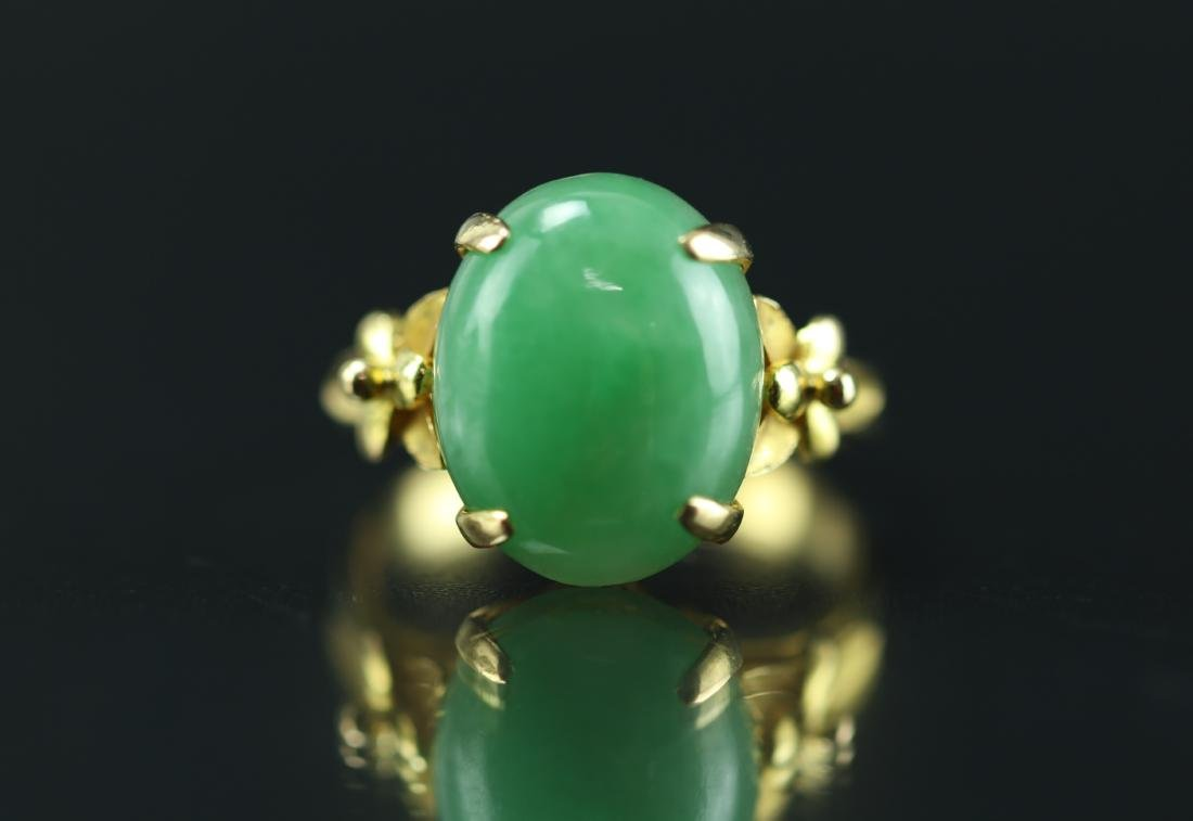 18 k Gold Jadeite Ring