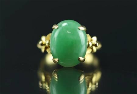 18 k Gold Jadeite Ring