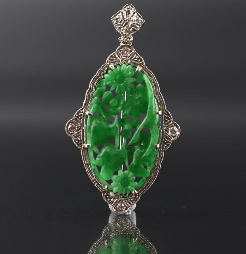 GIA Certified Natural Carved Jadeite Pendant w/ Diamond