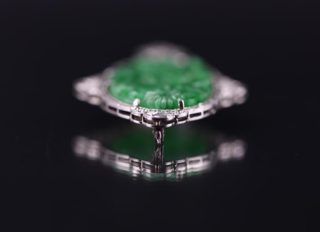 GIA Certified Natural Carved Jadeite Pendant w/ Diamond - 3