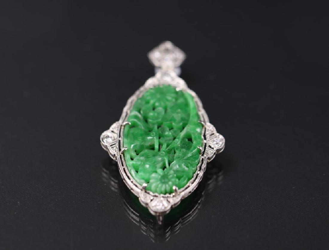 GIA Certified Natural Carved Jadeite Pendant w/ Diamond - 4