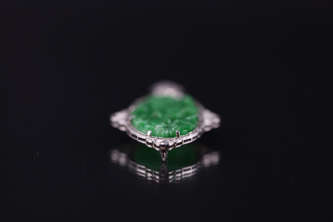 GIA Certified Natural Carved Jadeite Pendant w/ Diamond - 5