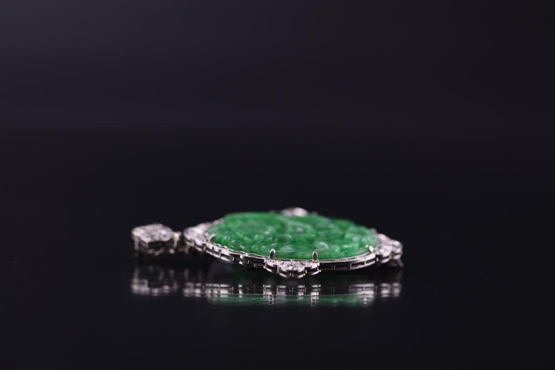 GIA Certified Natural Carved Jadeite Pendant w/ Diamond - 6