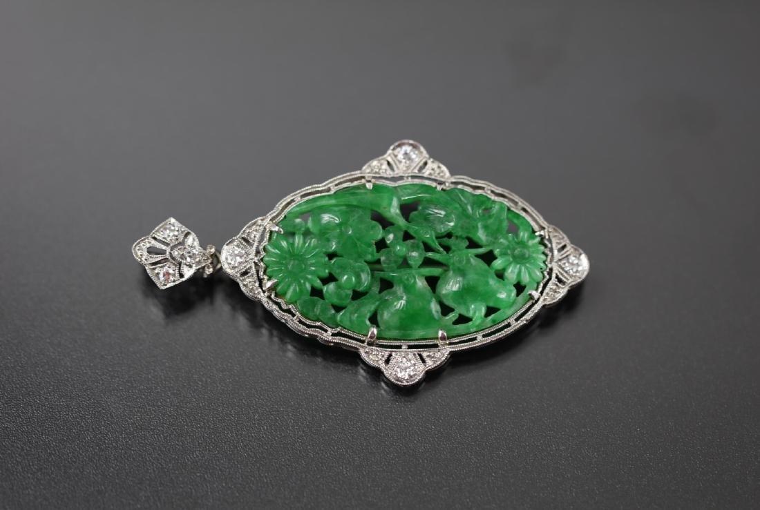 GIA Certified Natural Carved Jadeite Pendant w/ Diamond - 7