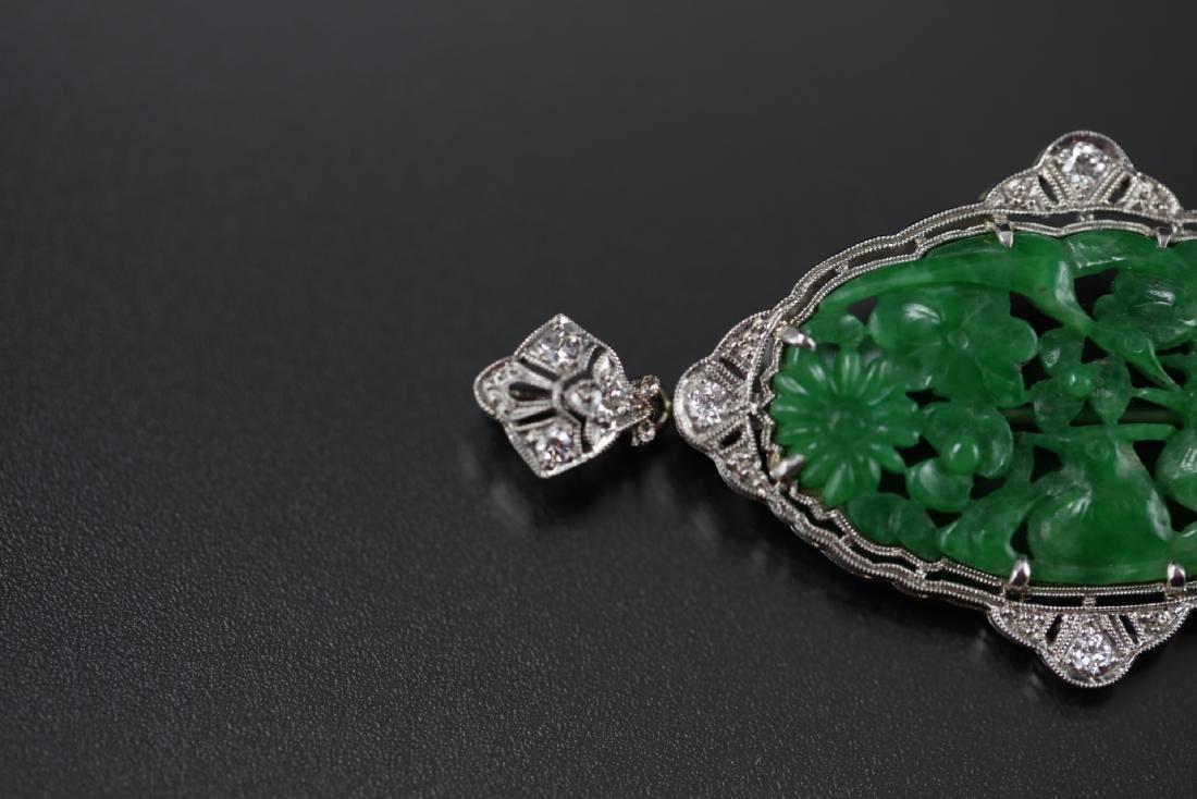 GIA Certified Natural Carved Jadeite Pendant w/ Diamond - 8