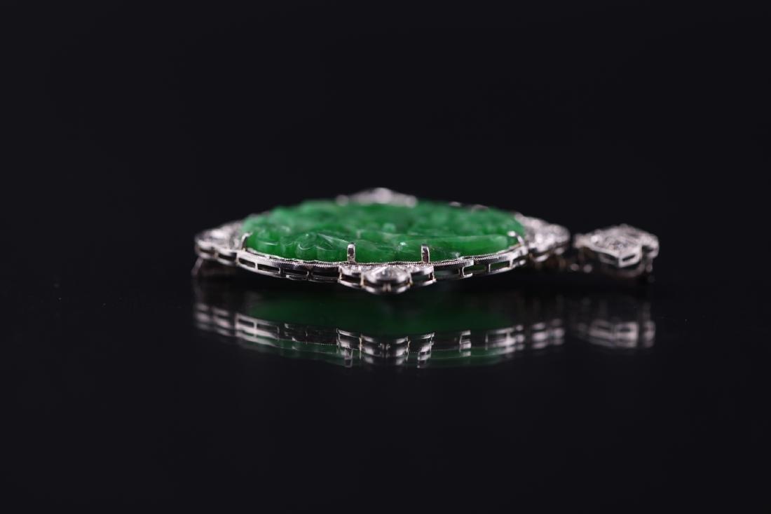 GIA Certified Natural Carved Jadeite Pendant w/ Diamond - 9
