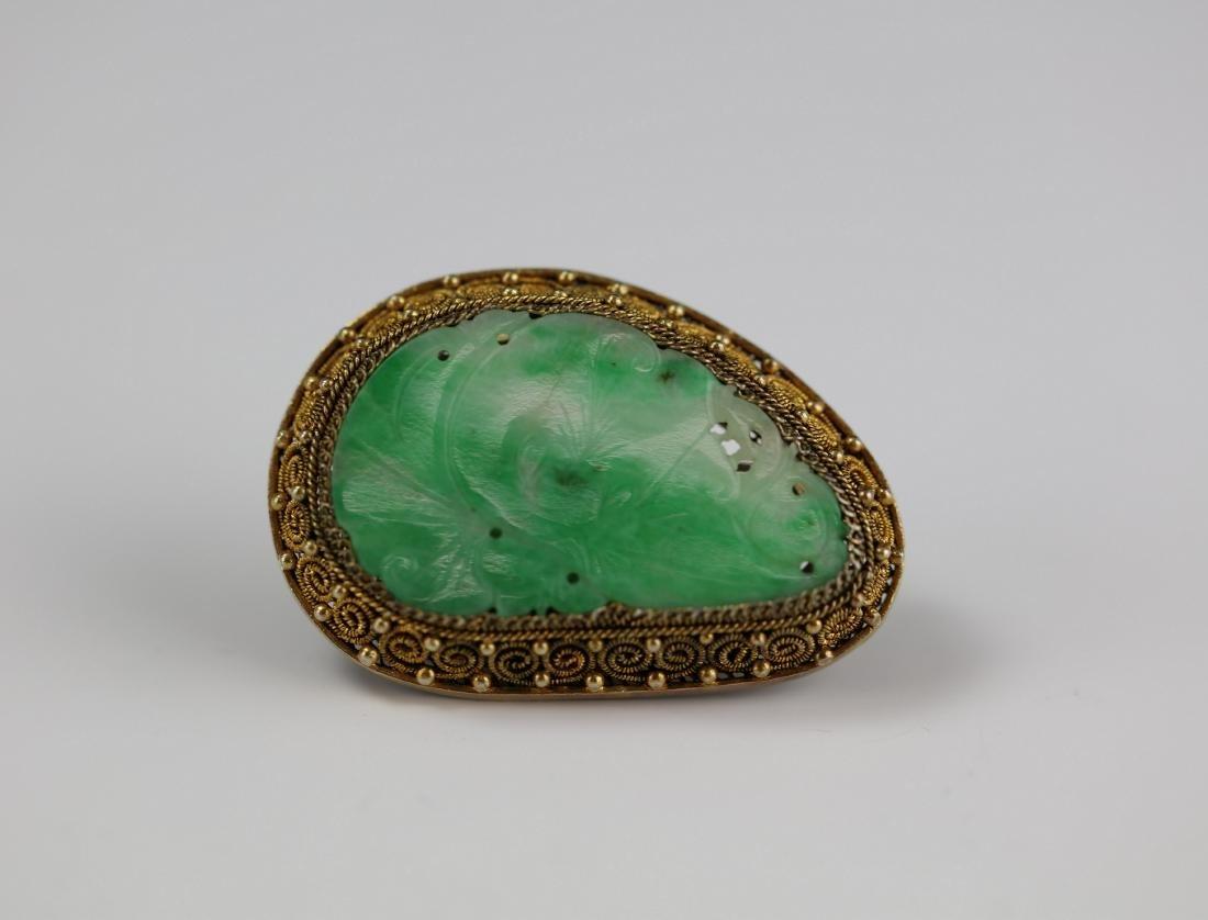 Silver Inlay Jadeite Brooch