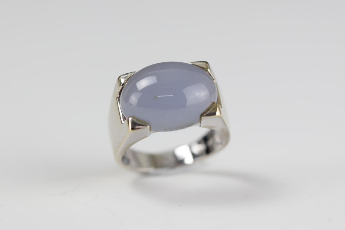 14 K White Gold Purple Jadeite Ring