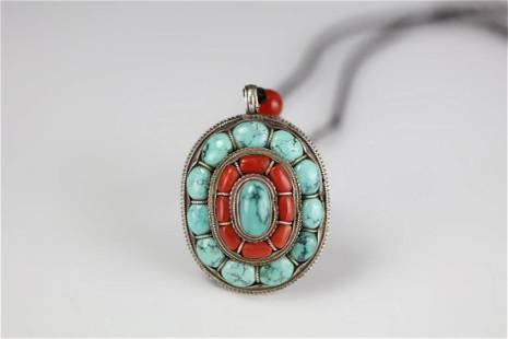 Silver Turquoise and Coral Beads Necklace