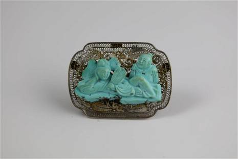 Silver Turquoise Curved Figures Brooch
