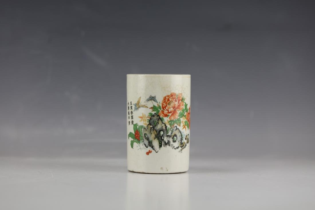 A Famille Rose Flower and Butterfly Pen Porcelain