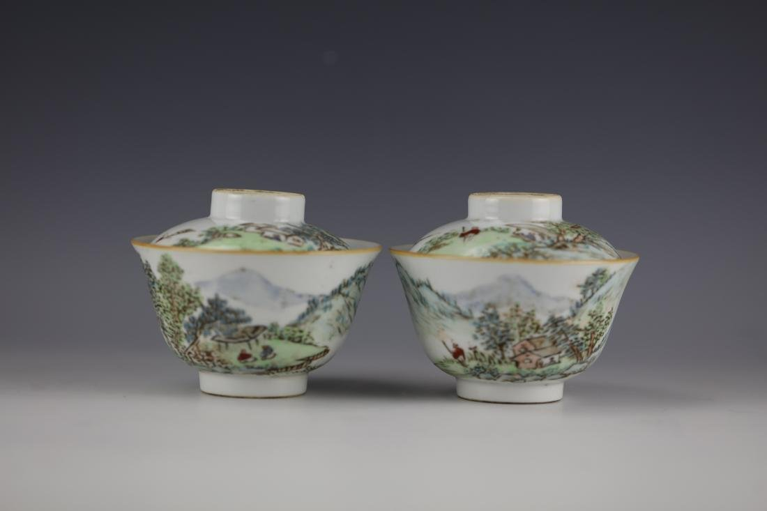 A Pair of Chinese Famille Rose Porcelain Tea Cups with