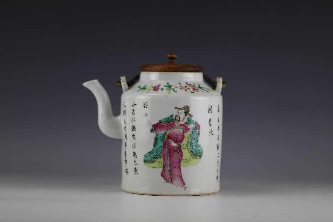 A Famille Rose Chinese Porcelain Teapot with Wooden