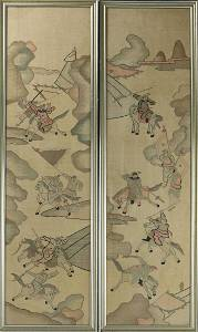 A Pair of Chinese Figures Fighting on Horses Kesi