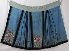 A Chinese Antique Silk Flower Embroidery Skirt