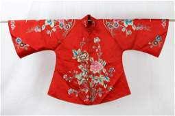 A Chinese Flower Silk Embroidery Coat