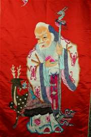 A Chinese Embroidery of Longtivity Immortal abd