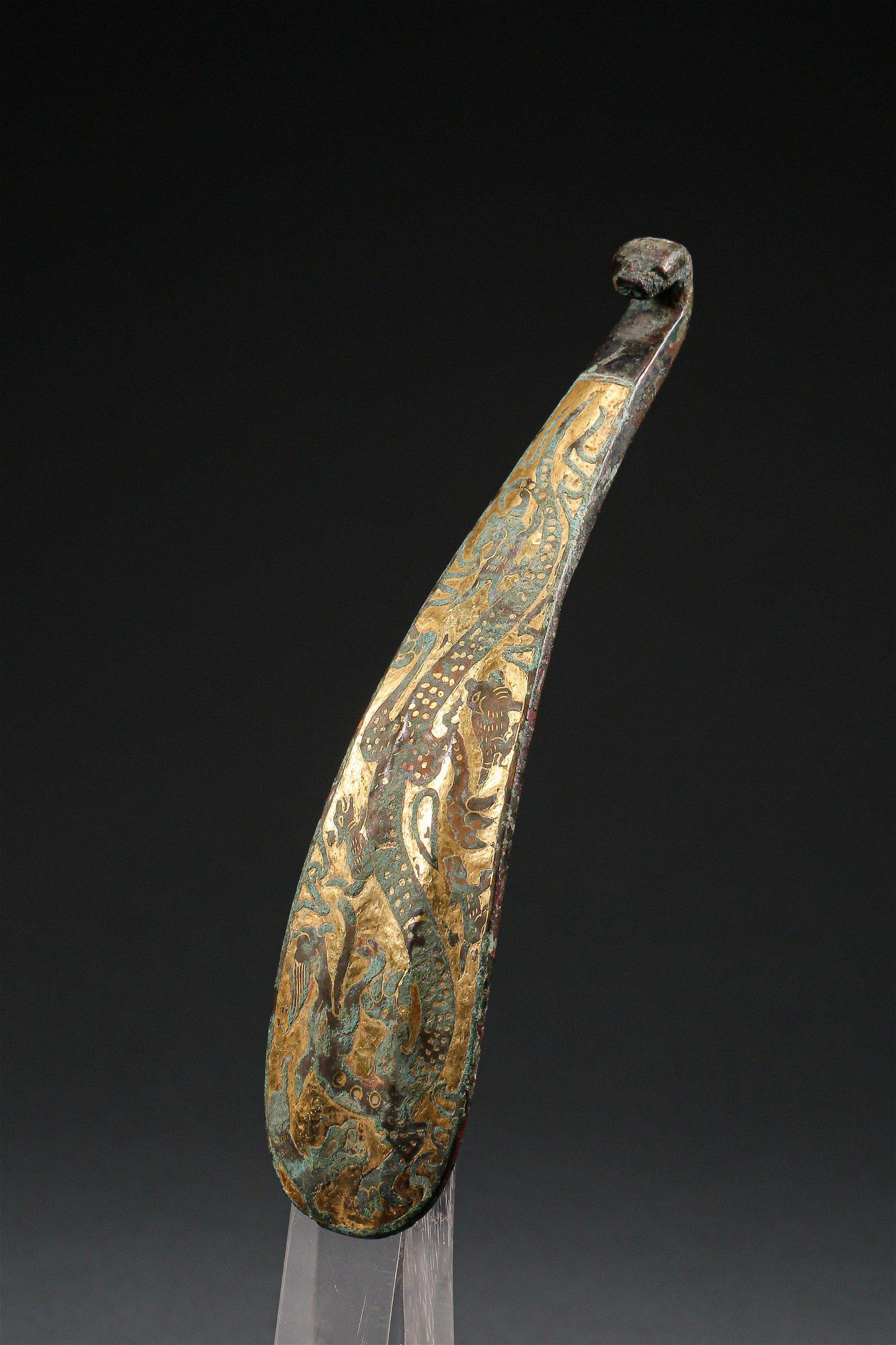 A Gild Bronze DRAGON Patterned Belt Buckle of Han