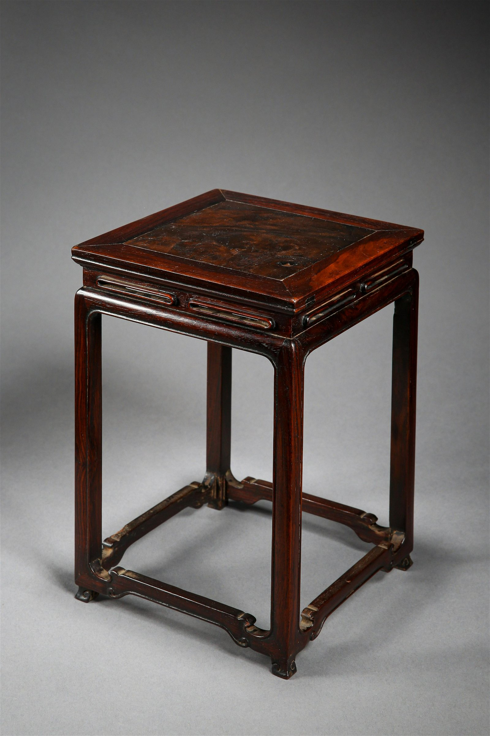 A Carved Huanghuali Plant Stand of Qing Dynasty