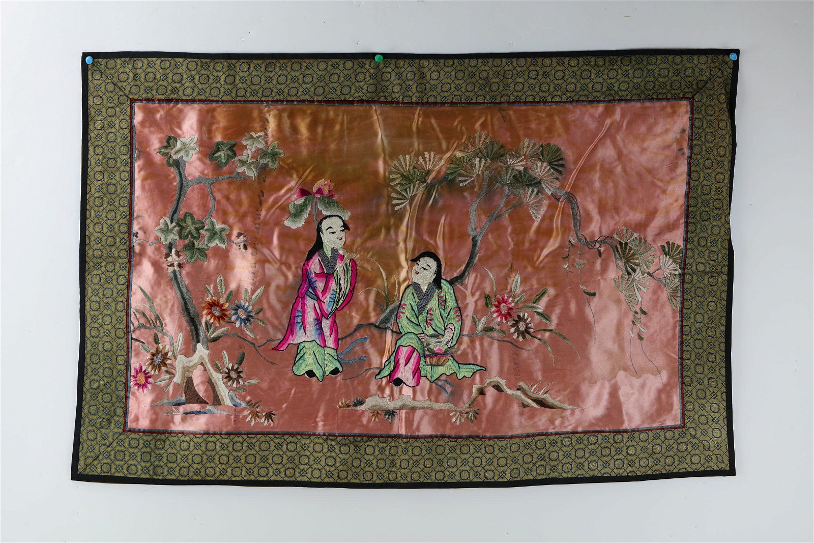 A Chinese Silk Embroidery of 2 Immortals
