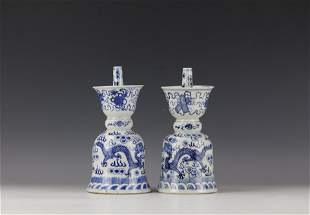 A Pair of Blue and White Dragon Porcelain Candle Stand