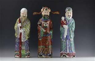 Three Chinese Figural Porcelain Statue Fu Lu Shou