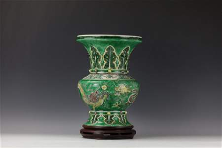 A Chinese Porcelain Big Vase  Double Dragons with Wood