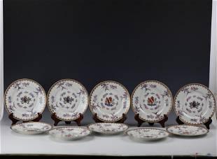 Ten Chinese Export Samson Faille Rose Procelain Plates
