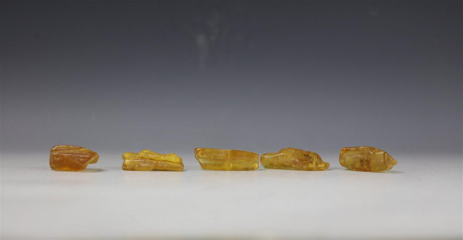 Five Natural Amber Nugets