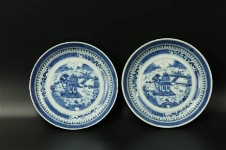 A Pair of Blue and White Canton Saucers