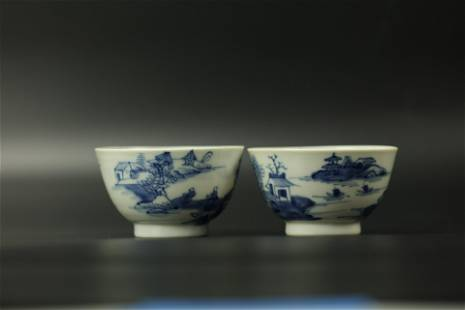 A Group of 2 Landscape Blue and White Cups