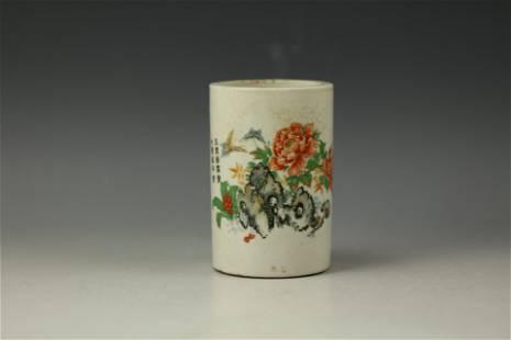 A Porcelain FLORAL Bitong Brush Pot