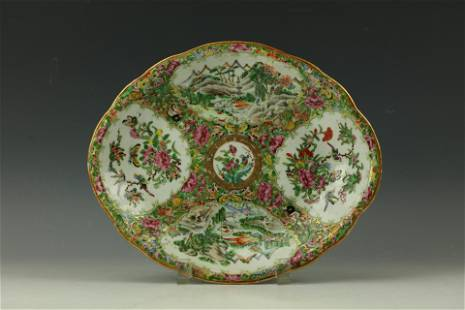 A FLORAL Famille Rose Medallion Oval Dish