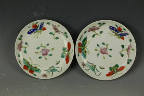 A Pair of BUTTERFLY Famille Rose Saucers