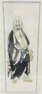 An Ink on Paper of Elderly Man Holding a Fan by Yang