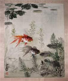A Chinese Painting of Goldfish on Silk by Wang Yachen