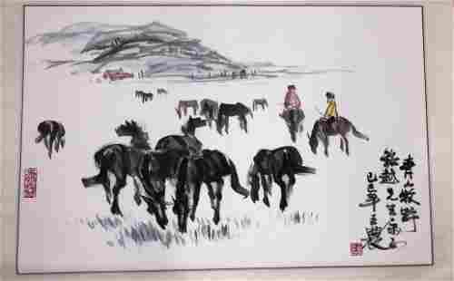 Chinese Painting of Horses by Wang Nong