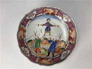 A Porcelain Plate with Ancient Chinese Folk Acrobatic
