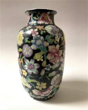 A Famille Rose Hand Painted Vase with Floral Art