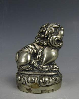 A Chinese Metal Lion Paper Weight Statue with Bottom