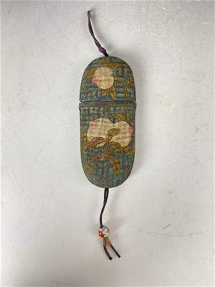 Antique chinese silk embroidery Eye Glasses Case with