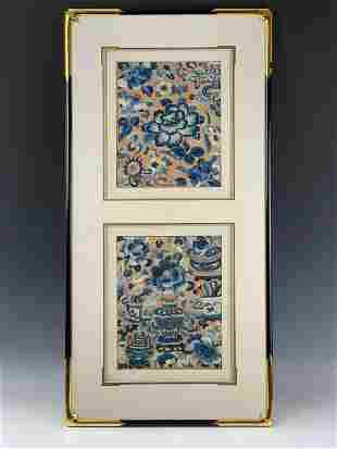Framed Antique Chinese Two Embroidered Textile