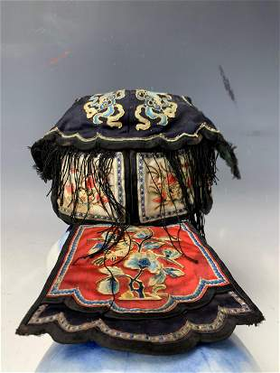 A Chinese Antique Mandarin Silk  Embroidery Hat